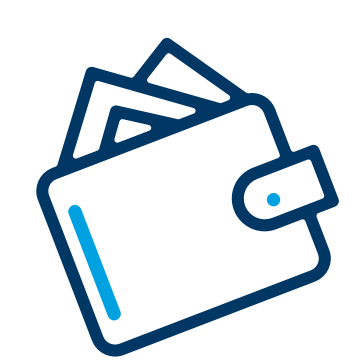 Blue doodle of a wallet with things sprawling out